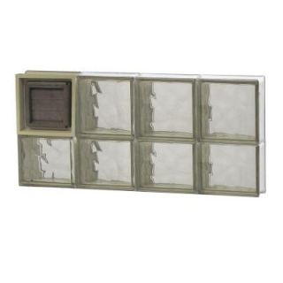 Clearly Secure 31 in. x 13.5 in. x 3.125 in. Wave Pattern Bronze Glass Block Window with Dryer Vent 3214SBZDV