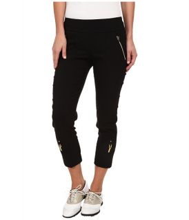 Jamie Sadock Skinnylicious 33 in. Mid Calf Capri Jet Black with Gold Zippers