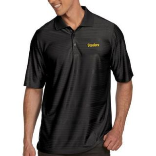 Pittsburgh Steelers Antigua Illusion Xtra Lite Polo   Black