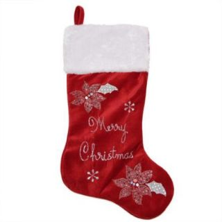 """20"""" Embroidered Red Velveteen Poinsettia """"Merry Christmas"""" Stocking with White Faux Fur Cuff"""