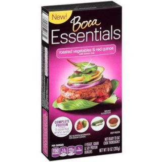 Boca Essentials Roasted Vegetables & Red Quinoa Soy Protein Burgers, 10 oz