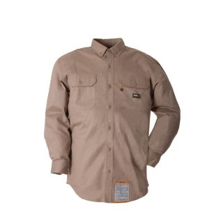 BERNE APPAREL Men's 3XL Long Khaki Twill Cotton/Nylon Blend Long Sleeve Uniform Work Shirt