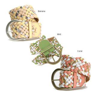 Linea Pelle Womens Multicolor Braided Belt   Shopping
