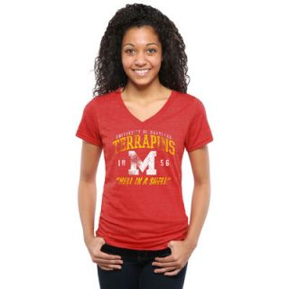 Maryland Terrapins Womens Hell in a Shell Tri Blend V Neck T Shirt   Red