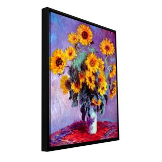 Claude Monet Sunflowers Floater framed Gallery wrapped Canvas