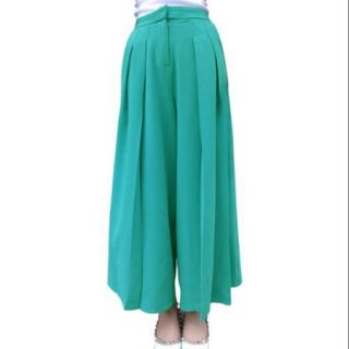 Allegra K Women's Loose Design Fake Hip Pockets NEW Cropped Palazzo Pants Green (Size M / 8)