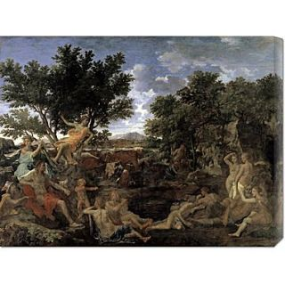 Global Gallery Apollo and Daphne by Nicolas Poussin Painting Print on Wrapped Canvas