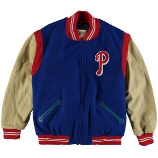 Philadelphia Phillies Mitchell & Ness Authentic Wool & Leather Jacket   Royal/Tan