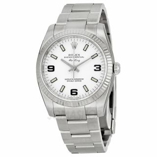 Rolex Airking White Arabic and Stick Dial Fluted 18k White Gold Bezel