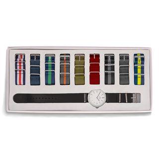 Timex Mens T2N654 Weekender Blue/ Grey Stripe Nylon Strap Watch