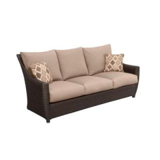 Brown Jordan Northshore Patio Sofa with Sparrow Cushions and Congo Throw Pillows    CUSTOM M6061 S 2