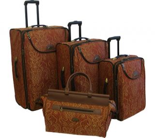American Flyer Travelware Paisly Gold 4 Piece Luggage Set