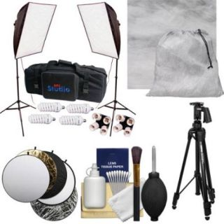 "RPS Studio Hybrid Still & Video 20"" Square Softbox Kit with 2 Softboxes, 2 Light Stands with Muslin Background + Tripod + Reflector + Cleaning Kit"