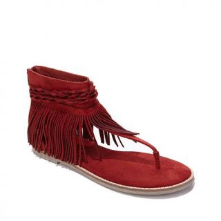 "Diego Di Lucca ""Dano"" Sandal with Fringe Ankle Wrap   7971885"