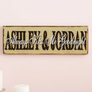 """Personalized """"Always Kiss Me Goodnight"""" Canvas Wall Décor"""