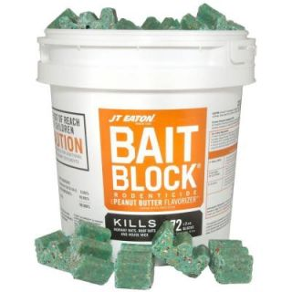 JT Eaton Bait Block Peanut Butter Flavor Anticoagulant Rodenticide for Mice and Rats (72 Pack) 709 PN