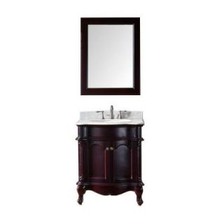 Virtu USA Norhaven 30 in. Vanity in Espresso with Marble Vanity Top in Italian Carrara White and Mirror ES 27030 WMRO ES