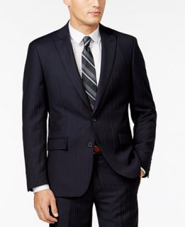 Ryan Seacrest Distinction Navy Stripe Slim Fit Jacket, Only at