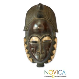 Handcrafted Sese Wood Male Baule Fertility Mask African Mask (Ghana