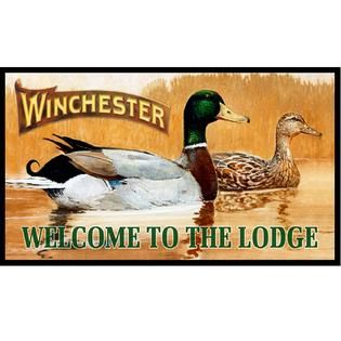 Rockin W Winchester Welcome To The Lodge Door Mat   Fitness & Sports