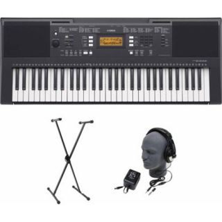 Yamaha PSR E343 61 Key Premium Portable Keyboard Package with Headphones, Stand and Power Supply