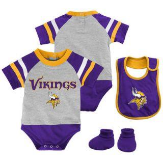 Minnesota Vikings Majestic Infant Little Player Creeper, Bootie & Bib Set – Gray
