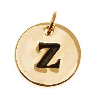 Lead Free Pewter, Round Alphabet Charm Lowercase Letter 'z' 13mm, 1 Piece, Gold Plated