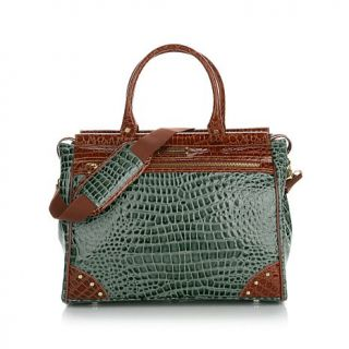 Samantha Brown Nylon and Croco Embossed Dowel Bag   8010906