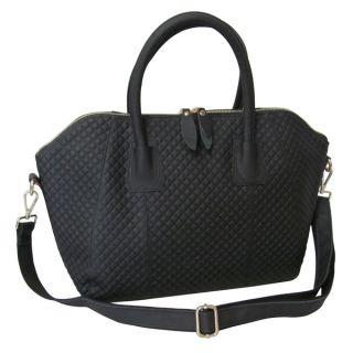 Amerileather Zeta Black Diamond embossed Leather Handbag