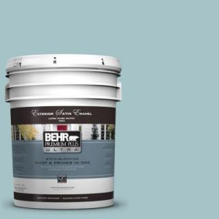 BEHR Premium Plus Ultra 5 gal. #510E 3 Ocean Kiss Satin Enamel Exterior Paint 985405