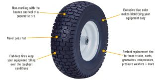Marathon Tires Flat-Free Lawn Mower and Cart Tire, 13in. x 5.00-6
