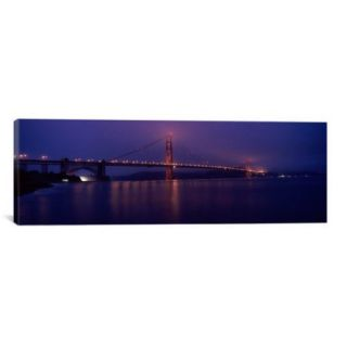 iCanvas Panoramic Suspension Bridge Lit up at Dawn Viewed from Fishing Pier, Golden Gate Bridge, San Francisco Bay, California Photographic Print on Wrapped Canvas
