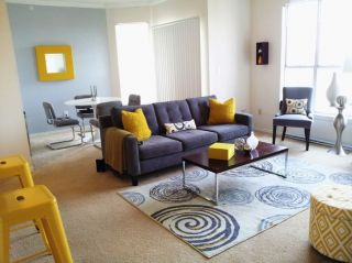 Yellow and Grey living room   Modern   Living Room   Photos by Tiffany