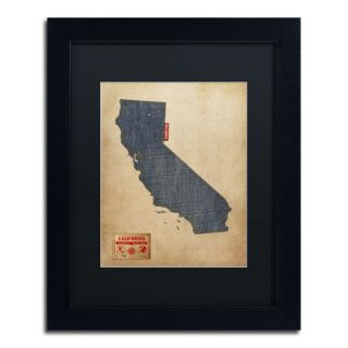 California Map Denim Jeans Style by Michael Tompsett Framed Graphic