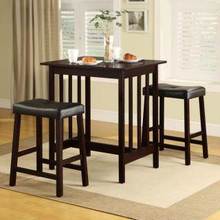 TRIBECCA HOME Nova Espresso 3 piece Kitchen Counter Height Dining Set