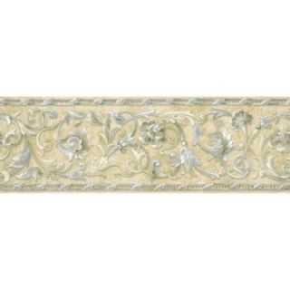 The Wallpaper Company 8 in. x 10 in. Blue and Beige Floral Scroll Border Sample WC1282652S