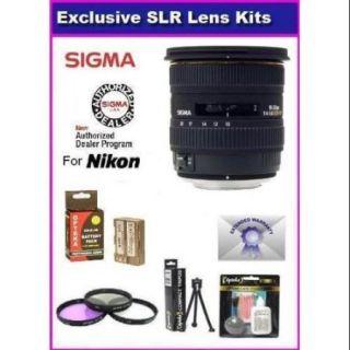 Sigma 10 20mm f/4 5.6 EX DC HSM Lens for The Nikon D40, D40x, D60, D3000 & D5000 Includes PRO HD 3PC Filter Kit + 7 Year Lens Warranty & Extended Life EN EL9 Battery Pack 2000MAH + More