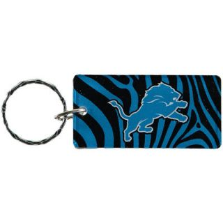 Detroit Lions Zebra Printed Acrylic Team Color Logo Keychain