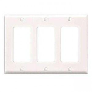Leviton PJ263 W Decora/GFCI Wall Plate, 3 Gang, Nylon, White, Midway