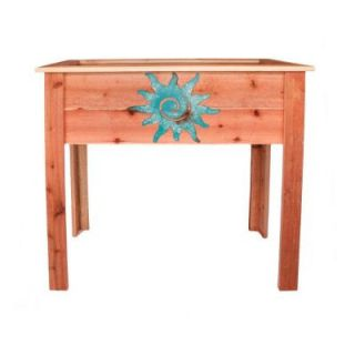 Hollis Wood Products 36 in. Redwood Raised Planter with Patina Sun Design 15023