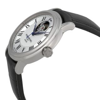 Raymond Weil Maestro Silver Dial Black Leather Mens Watch 2827 STC