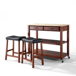 Crosley Furniture KF300514CH Natural Wood Top Kitchen Island with 24 Upholstered Saddle Stools in Classic Cherry