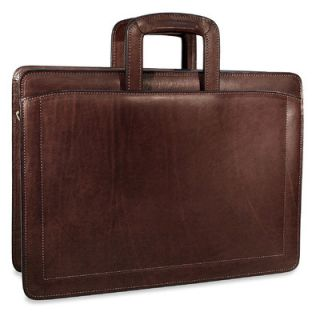 Belting Double Gusset Leather Briefcase by Jack Georges