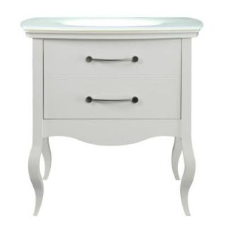 DECOLAV Gabrielle 37 in. Birch Vanity in White with Glass Vanity Top with White Basin 5265 WHT