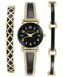 Anne Klein Womens Black and Gold Tone Bangle Bracelet Watch Set 24mm
