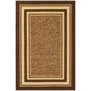 Ottomanson Ottohome Collection Contemporary Bordered Design Brown 5 ft. x 6 ft. 6 in. Area Rug OTH2318 5X7