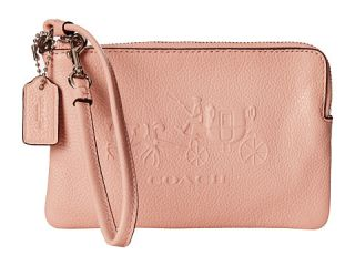 Coach Embossed Horse And Carriage Sm L Zip Wristlet Sv Blush, Coach