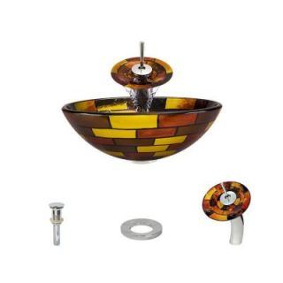 MR Direct Glass Vessel Sink in Stained Glass with Waterfall Faucet and Pop Up Drain in Chrome 621 WF C ENS