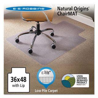 ES Robbins 36 x 48 Natural Origins Chair Mat With Lip For Carpet, Clear