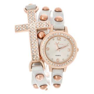 Via Nova Womens Rhinestone Accent Cross White Wrap Watch   16476822